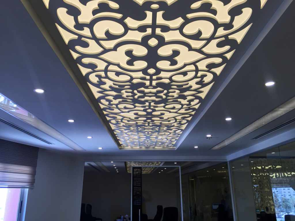 image of an office ceiling potlights