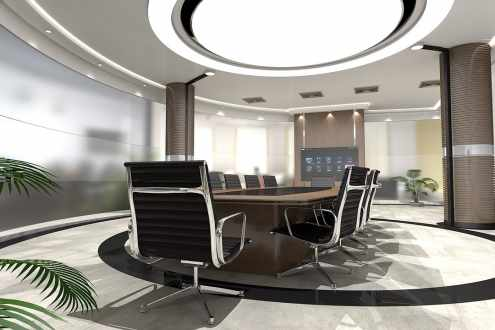 mixed recessed lighting in the office meeting room