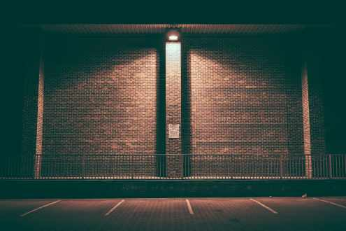 outdoor led light on a brick wall