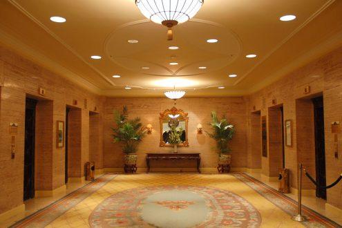 Recessed lights lobby