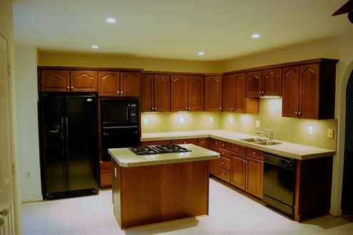 image of a kitchen with recessed light installed