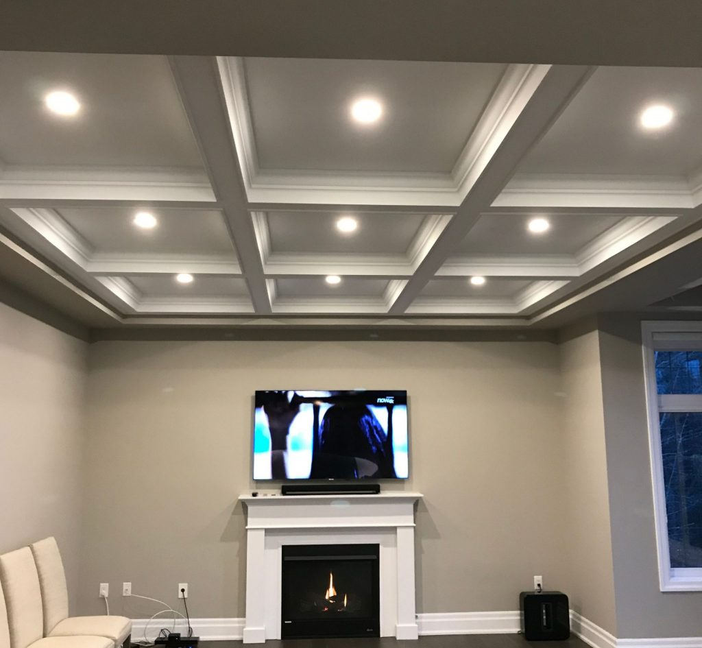 Modern Family Room with Waffle Ceiling and Potlights
