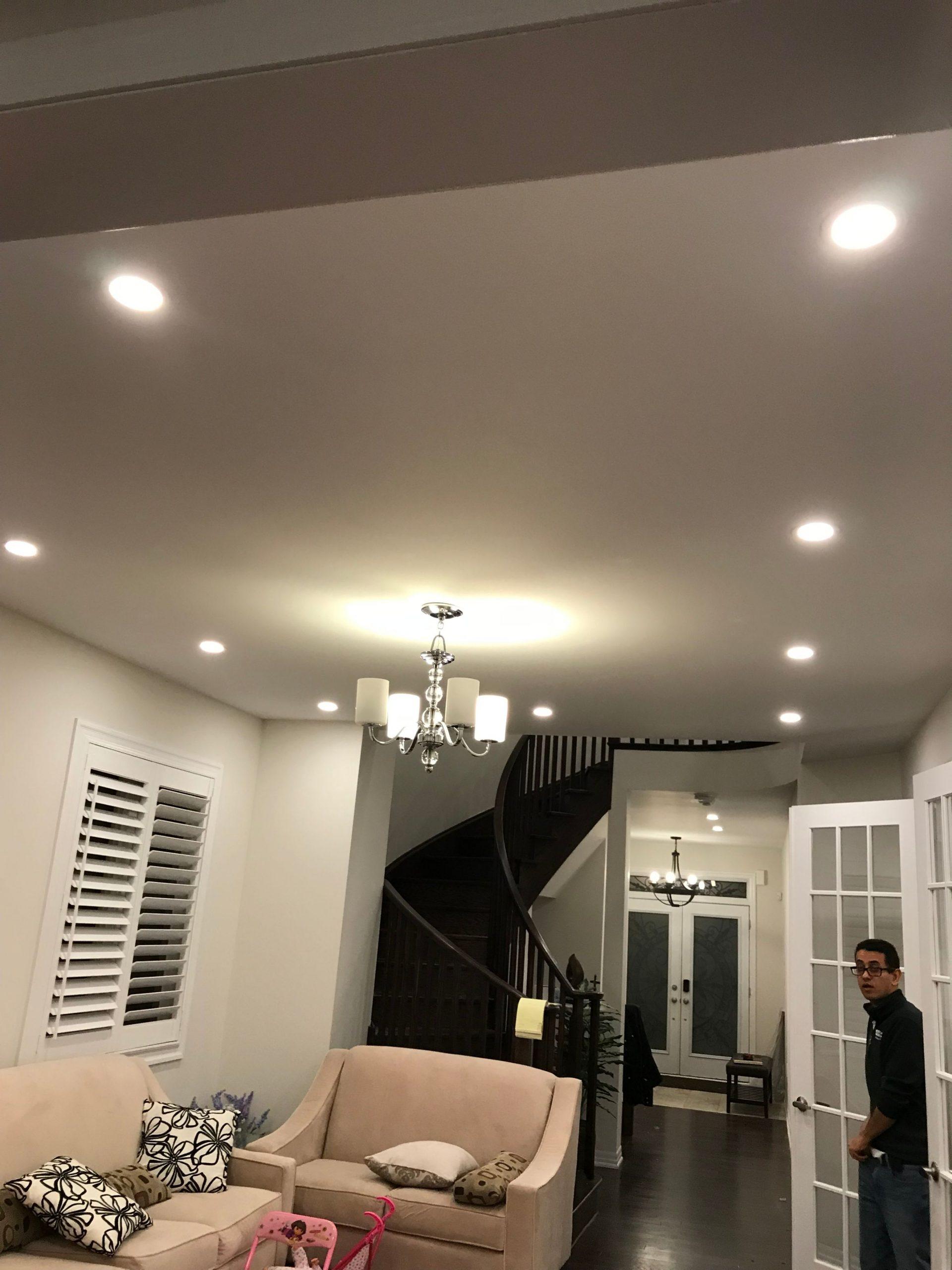 pot lights in living room