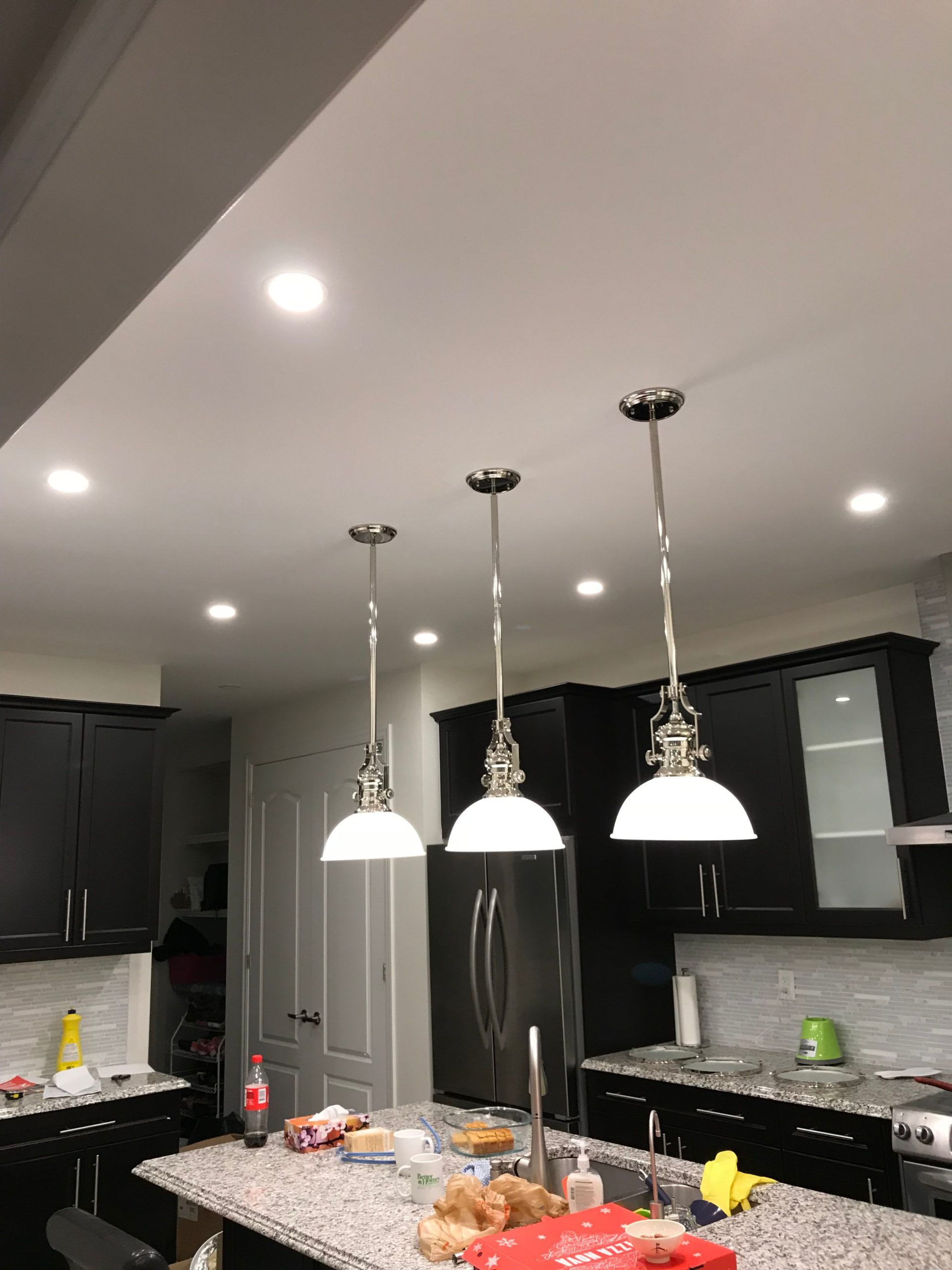 custom kitchen with ceiling pot lights