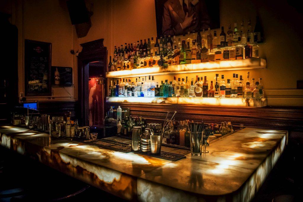 back lit bar shelves and stand - potlight installation
