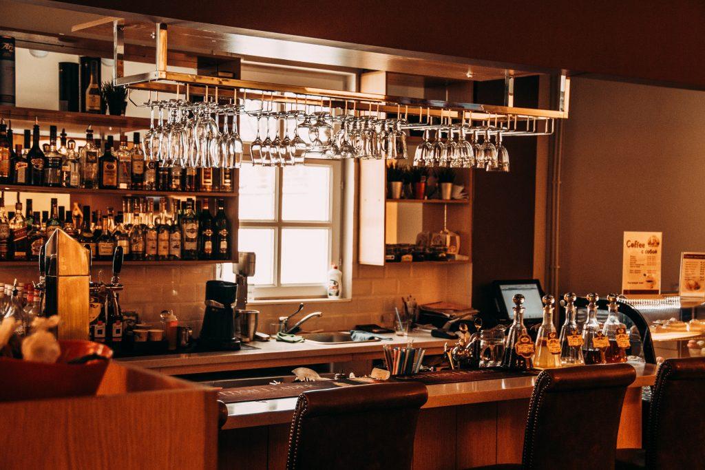 custom bar with Natural light - pot light installation toronto