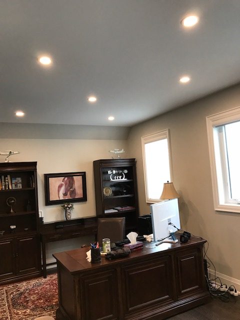 home office with potlights