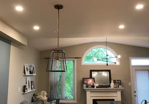 pot lights installation in living room