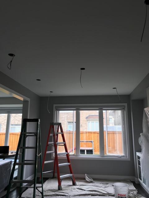 pot lights installation in progress