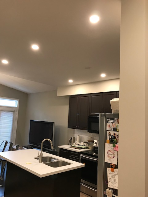 small kitchen with pot lights
